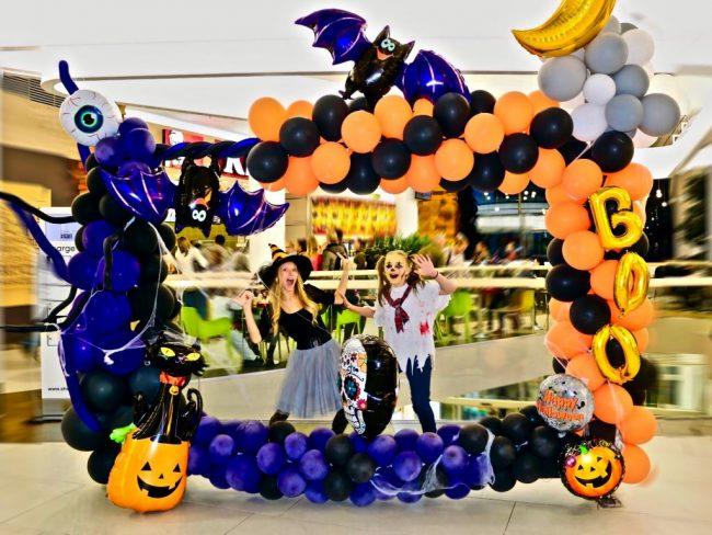 Halloweenský balónkový fotokoutek - balónkový fotorámeček s fóliovými balónky