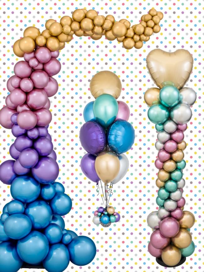 Nepravidelná organická balonková girlanda pouze z chromových balónků