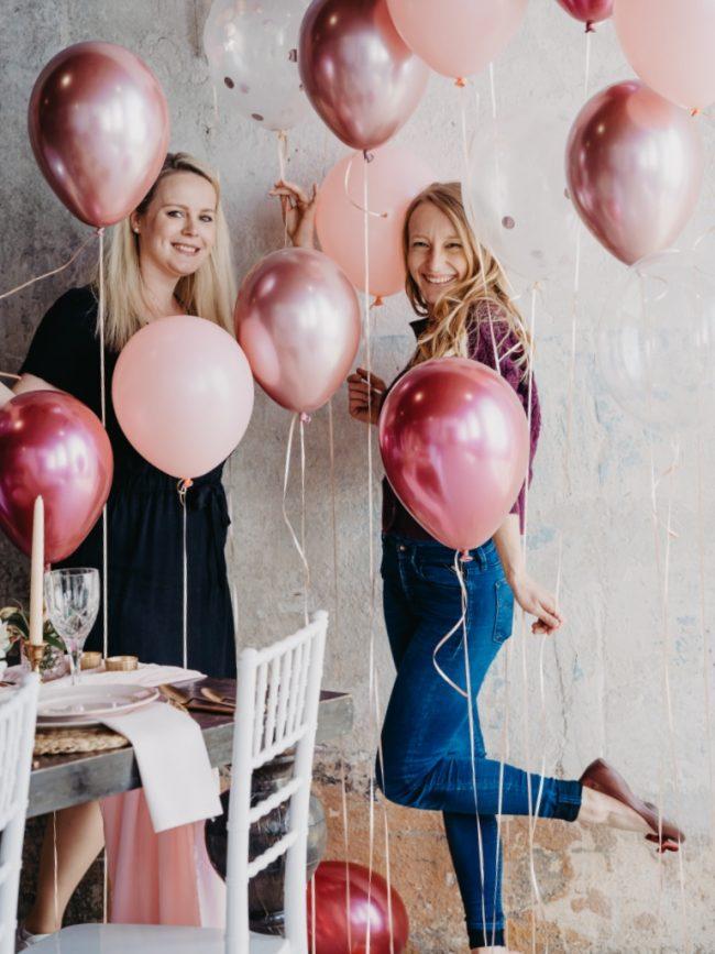 Héliové balónky s prvky chrom balónků - balónky se zrcadlovým efektem